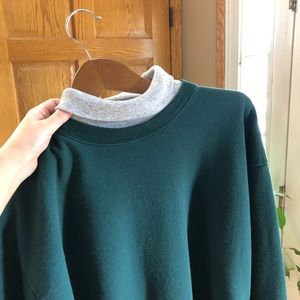 Vintage Women's Pullover Turtleneck Green and Gray